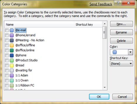 Color Categories dialog box in Outlook 2007
