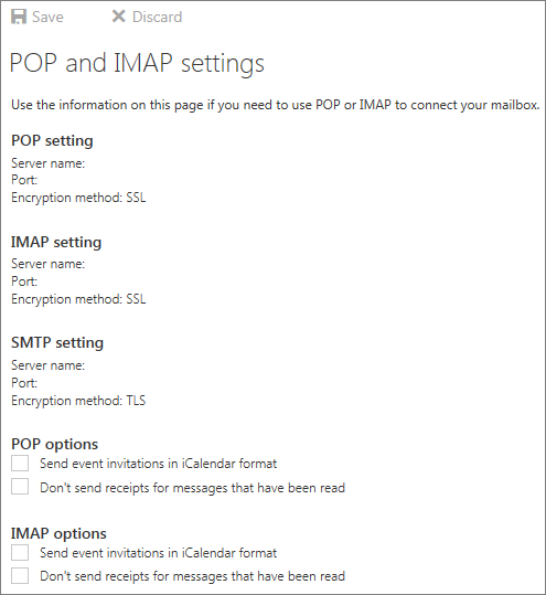 POP and IMAP settings page showing POP, IMAP, and SMTP settings and POP and IMAP options
