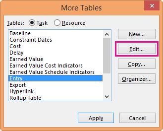 More Tables dialog box