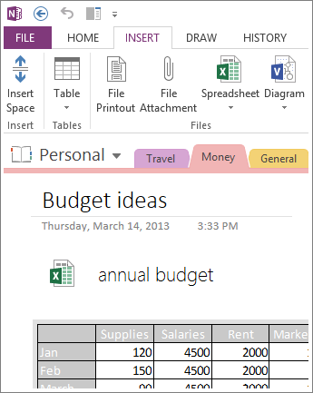 Insert an image of your spreadsheet on the page