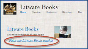 Screenshot of a website with a link to print a copy of the site catalog