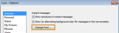 Change Instant Message Font