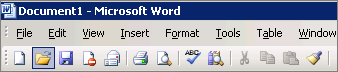 Main menu in Word 2003