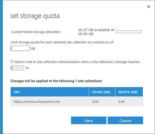 Set storage quota dialog box