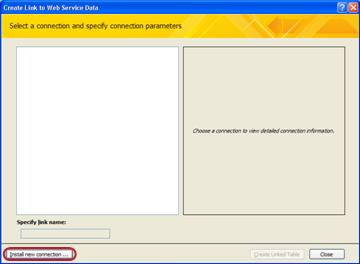 Installing a Web Service data connection