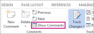 Show Comments command