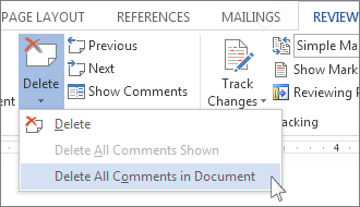 Delete All Comments in Document command on the Delete Comments menu