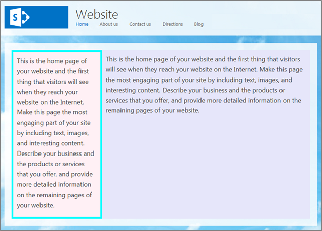 Example of several changes to the Left Sidebar Layout