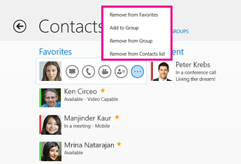 Screenshot of the menu options that display when you select a contact's picture and then the button with the three dots