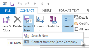 Create a new contact from the same company