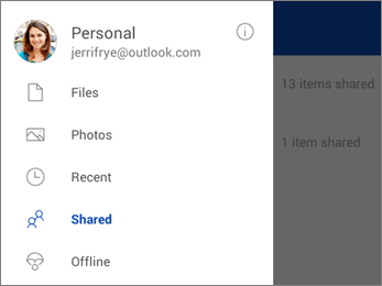Shared view in OneDrive