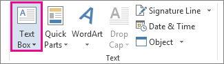 The Text Box command on the Insert tab