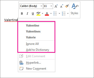 Right-click menu for a flagged word