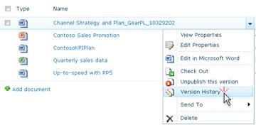 Drop-down list for a SharePoint file. Version History is selected.