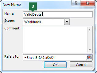 Type a name for your drop-down list entries in Excel