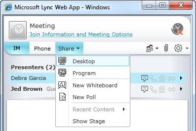 Lync Web App Share menu