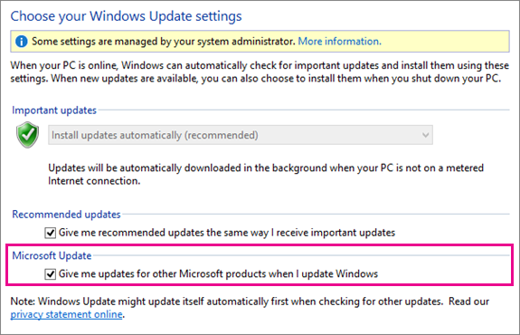 Windows 8 Windows Update Settings in Control Panel