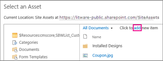 """Select an Asset dialog box, showing that you can click """"add"""" to add a file"""