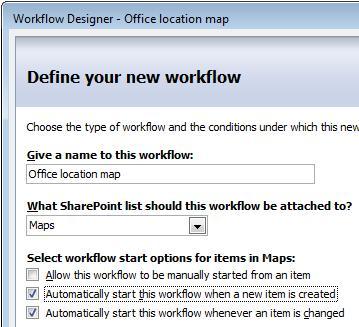 first page of workflow designer