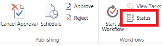 Ribbon showing approval status button