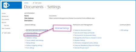 Screenshot of the settings page in a SharePoint Document Library