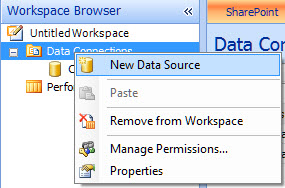 New data source option selected  in the Workspace Browser