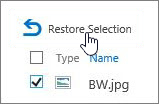 Restore a selection from Recycle Bin.