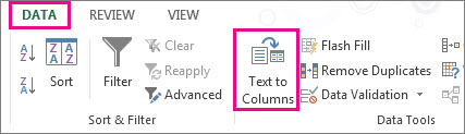 Click the Data tab, and then click Text to Columns