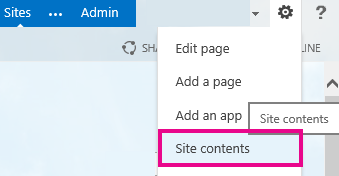 Settings > Site contents