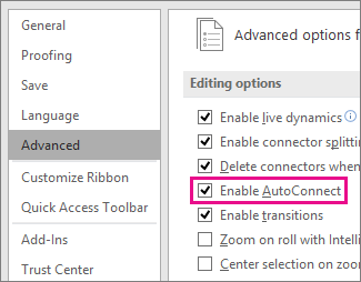 Select or clear Enable AutoConnect to activate or deactivate AutoConnect for all diagrams & drawings.