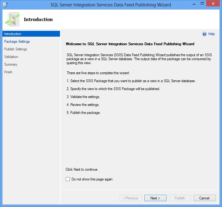 SSIS Package Publishing Wizard - Introduction Page