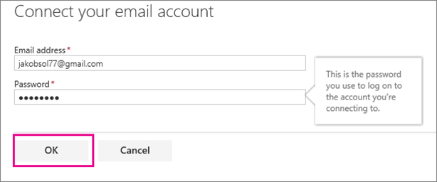 Enter the email address and password for the account you want to connect.