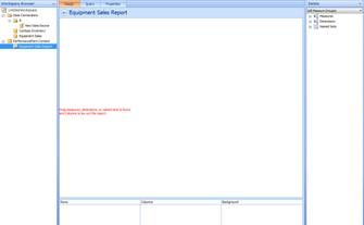 Blank Dashboard Designer page for Equipment Sales report