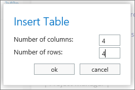Tool to enter number of rows and columns in a new table.