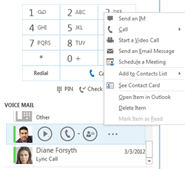Screenshot of check voicemail in Lync