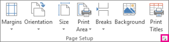 Dialog box launcher in the Page Setup group