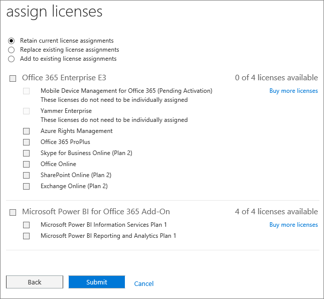 Screen shot of the assign licenses page that is displayed when you add or replace licenses for several users at the same time.