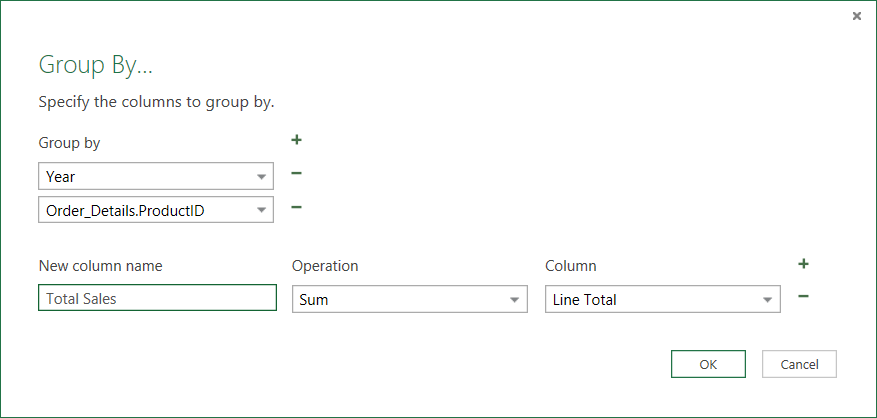 Group By Dialog Box for Aggregate Operations