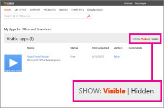 Show visible or hidden apps for Office