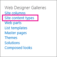 Site content types link on Site Settings page