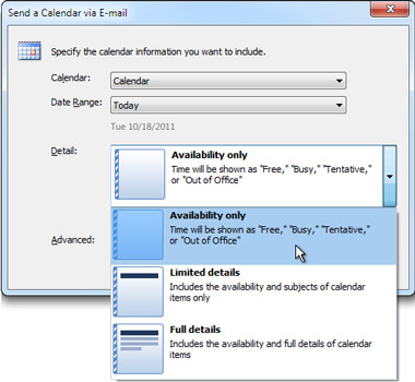 Details list in Send a Calendar via E-mail dialog box