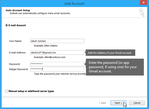 Enter your gmail email address and your gmail account password