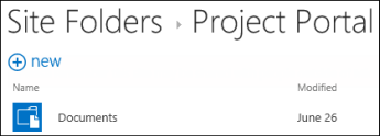Select a site in the Site Folders list in Office 365 to see the document libraries on that site.