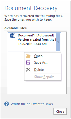 Document Recovery pane