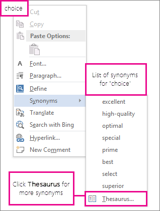 Image of right-click menu showing a list of synonyms