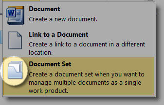 New Document Menu with Document Set icon higlighted