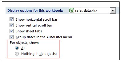 Options for showing and hiding objects in Excel Options dialog box