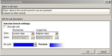 the new formatting rule dialog box