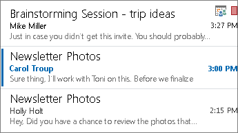 Preview messages in the message list
