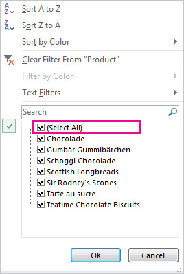 Select All box in the Sort and Filter gallery